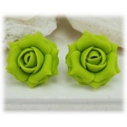 Green Chartreuse Rose Stud Earrings