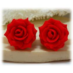 Red Coral Rose Stud Earrings
