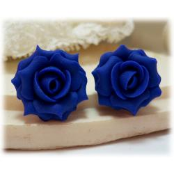 Blue Indigo Rose Stud Earrings