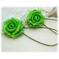 Green Apple Rose Drop Earrings
