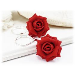 Red Apple Rose Drop Earrings
