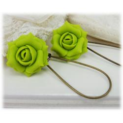 Green Chartreuse Rose Drop Earrings