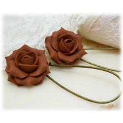 Brown Coffee Rose Drop Earrings