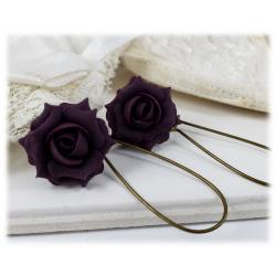 Plum Rose Drop Earrings
