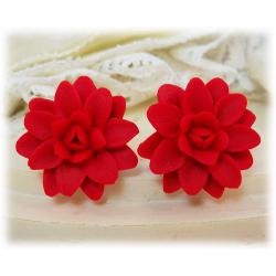 Red Dahlia Stud Earrings