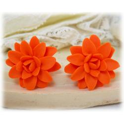 Orange Dahlia Stud Earrings