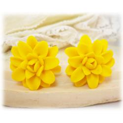 Yellow Dahlia Stud Earrings