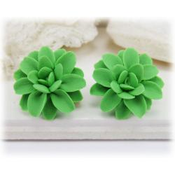 Green Dahlia Stud Earrings