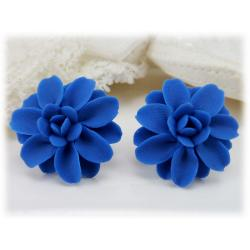 Blue Dahlia Stud Earrings