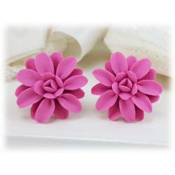 Pink Dahlia Stud Earrings