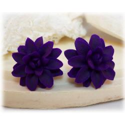 Purple Dahlia Stud Earrings