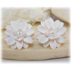 White Dahlia Stud Earrings