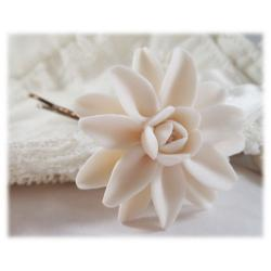 White Dahlia Hair Pins