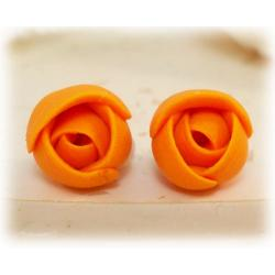 Tiny Orange Flower Earrings