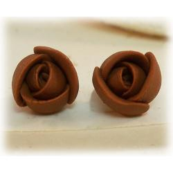 Tiny Brown Flower Earrings