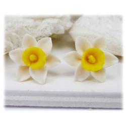 White Yellow Daffodil Stud Earrings