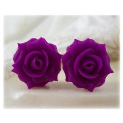 Pink Violet Rose Stud Earrings