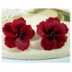 Red Hawaii Hibiscus Stud Earrings