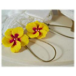 Yellow Hawaii Hibiscus Earrings
