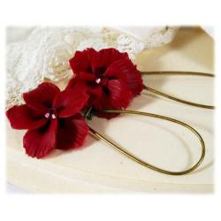 Red Hawaii Hibiscus Earrings