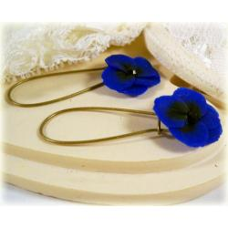 Blue Pansy Drop Earrings