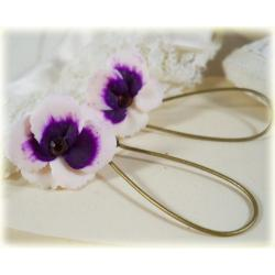 White Purple Pansy Drop Earrings