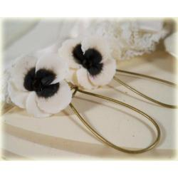 White Black Pansy Drop Earrings