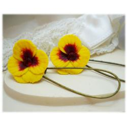 Yellow Red Pansy Drop Earrings