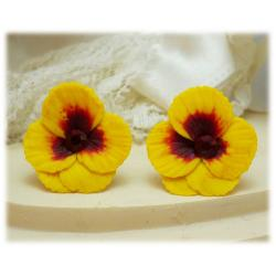 Yellow Red Crystal Pansy Stud Earrings