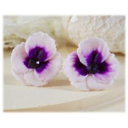 White Purple Pansy Stud Earrings