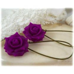 Violet Rose Drop Earrings