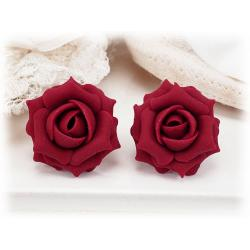 Ruby Red Rose Stud Earrings
