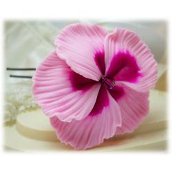 Pink Hibiscus Hair Pins