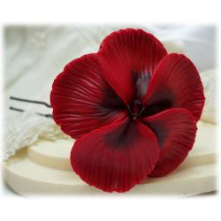 Red Hibiscus Hair Pins