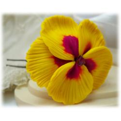 Yellow Hibiscus Hair Pins