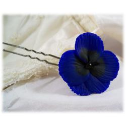 Blue Pansy Hair Pins