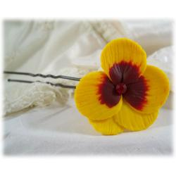 Yellow Red Pansy Hair Pins