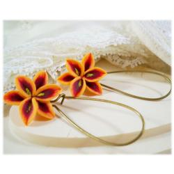 Orange Lily Drop Earrings