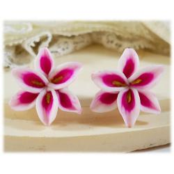 Pink Lily Stud Earrings