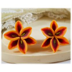 Orange Lily Stud Earrings