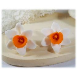 White Orange Daffodil Stud Earrings