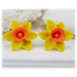 Yellow Orange Daffodil Stud Earrings
