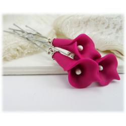 Pink Calla Lily Hair Pins
