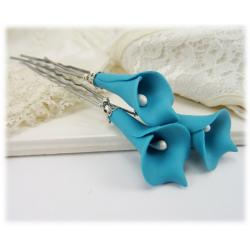 Turquoise Calla Lily Hair Pins