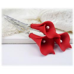 Red Calla Lily Hair Pins