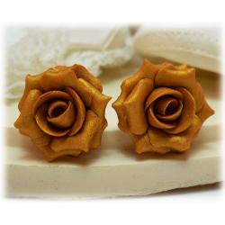 Metallic Gold Rose Stud Earrings