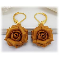 Metallic Gold Rose Drop Earrings