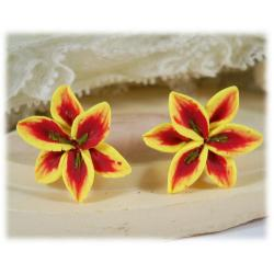 Yellow Lily Stud Earrings