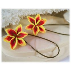 Yellow Lily Drop Earrings
