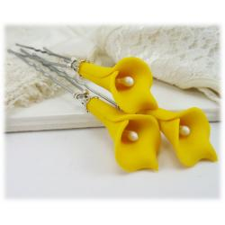 Yellow Calla Lily Hair Pins